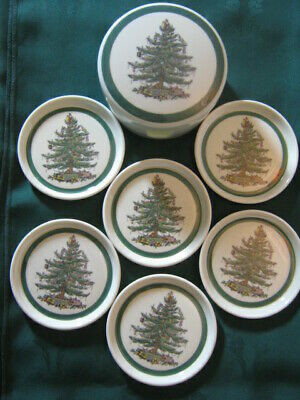 Lovely Set Of 6 SPODE Christmas Tree Coasters In Caddy. VGC !! • 6.99£