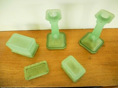 PAIR ART DECO  GREEN URANIUM GLASS CANDLESTICKS 16cm PERFECT + 2 BOXES + PINTRAY • 45£
