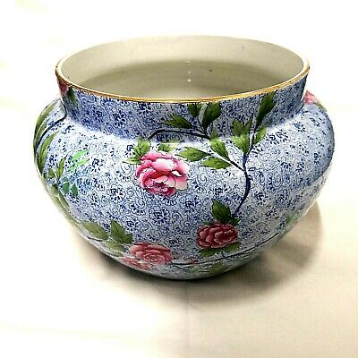 Vintage Large Shelley Late Foley Pink Blue Floral Design Jardiniere Planter A/F • 30£