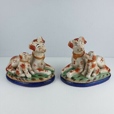 Pair Of Vintage Staffordshire Dogs And Puppies Ceramic Ornament Figures • 34.99£