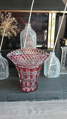 Red  Ruby Cut Glass Vase • 25.99£