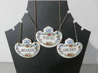 Crown Staffordshire Fine Bone China Decanter Labels BRANDY, WHISKY, SHERRY • 10£