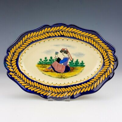Vintage Quimper French Faience - Hand Painted Breton Decorated Plate - Lovely! • 19.99£