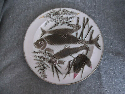 (511) Antique Victorian Wedgwood Majolica Fish Plate # Excellent Condition • 20£
