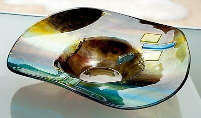 MASSIVE 48cm Magnificent Abstracto Art Glass Abstract Wavy Bowl & Murano Label • 21£