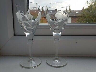 A Pair Of  Crystal Fuschia Pattern Wine Glasses. • 15£