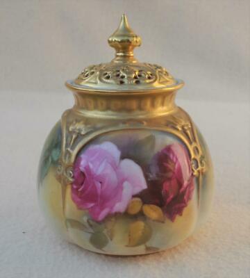 Immaculate ! Antique Royal Worcester Hand Painted Roses Lidded Pot Pourri # 175 • 43.98£