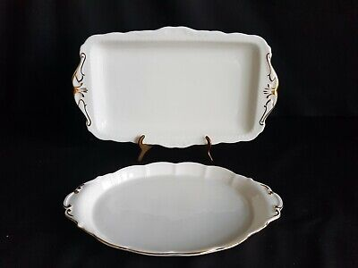 2 X Royal Albert Val D'or Sandwich Plates Platters Trays • 8.99£