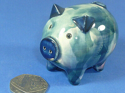 Vintage Jersey Pottery Blue Pig Hand Painted Old Collectable @2 1/2  Long VGC  • 19.95£