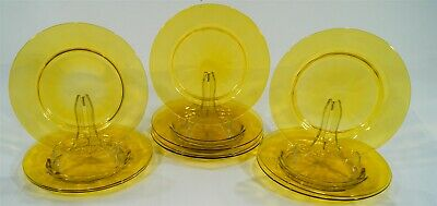 1903-32 Frederick Carder Steuben Bristol Yellow 10 Optic Deep Well Lunch Plates • 6.92£