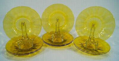 1903-32 Frederick Carder Steuben Bristol Yellow 10 Optic Saucers Or Underplates • 6.92£