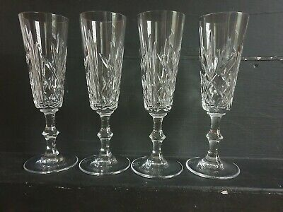 4 Royal BRIERLEY Crystal  Champagne Flutes Signed. • 29.99£