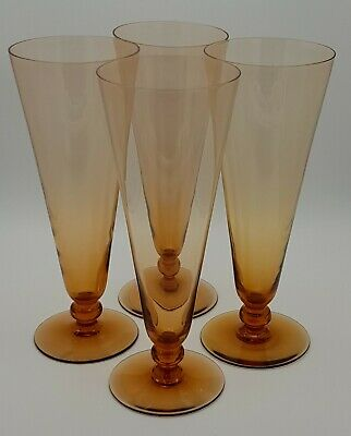 Set Of Four Large Victorian Amber Coloured Ale Glasses. • 100£