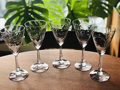 Antique Etched Heisey Crystal Wine Glasses • 38.57£