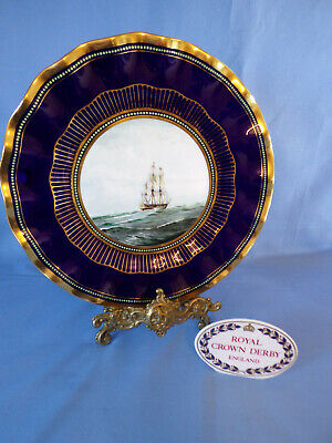 Royal Crown Derby Cabinet Plate Cobalt Blue Ground Jewelled Border Shipping  • 65£