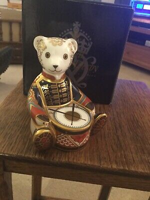 Royal Crown Derby Drummer Bear Paperweight - Gold Stopper And Box • 82£