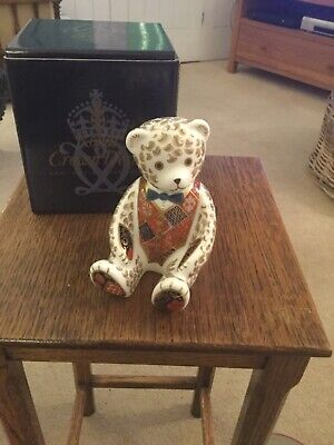 Royal Crown Derby Teddy Bear Paperweight - Gold Stopper And Boxed • 70£