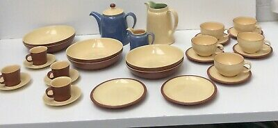 Large Collection Of Denby Tableware In Cream /Blue & Brown Preowned  (856DS) • 20£