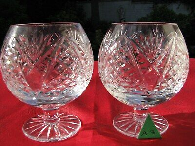 1st QTY STUNNING IRISH TYRONE CRYSTAL PAIR BRANDY GLASSES, SNIFFTERS • 39.95£