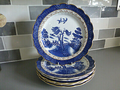 Vintage Booths Real Old Willow - Blue & White- A8025  Dinner Plates X 6, 10 1/2  • 39.99£
