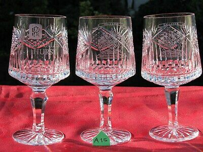 1st QTY STUNNING IRISH TYRONE CRYSTAL WINE GLASSES ETCHED • 29.95£