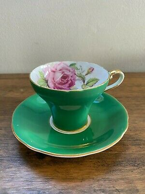 Anysley Corset Cup And Saucer - Stunning Green With Rose • 25£