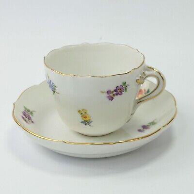 Sevres Porcelain Teacup & Saucer Hand Painted Flowers Antique Crossed Swords #2 • 80£