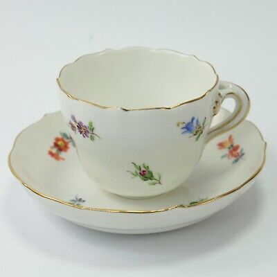 Sevres Porcelain Teacup & Saucer Hand Painted Flowers Antique Crossed Swords #4 • 80£