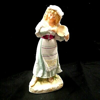 Vintage Heubach Style Bisque Porcelain Figurine / Figure - Girl With Tambourine • 30£