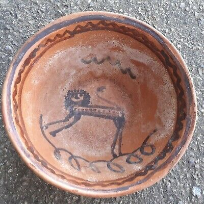 Antique Slipware Bowl With Primative Lion • 20£