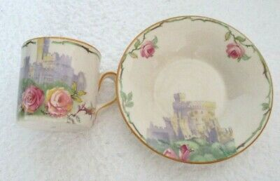 ANTIQUE Decorative 'Hampton Ivory' Ceramic Coffee Cup & Saucer. (Windsor Castle) • 1.99£