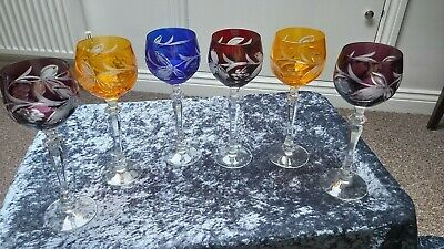 Bohemian Crystal Coloured To Clear Wine  Glasses X6 #6 • 135£