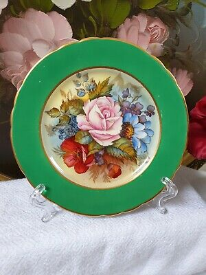 RARE Aynsley Cabbage Rose SIGNED J A Bailey Green Tea Plate   • 22£