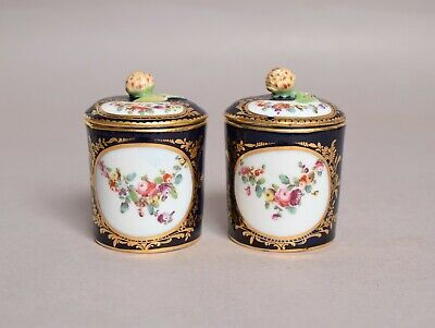 A Fine Quality Pair Of Antique 19thc English Or French Porcelain Lidded Pots • 25£