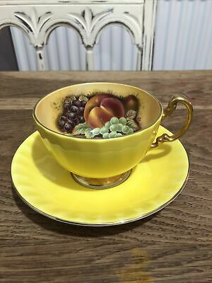 Aynsley Fine Bone China Orchard Gold Fruit Yellow Cup & Saucer • 4.99£