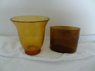 2 X Lovely Vintage  Glass Amber Vase - Oval And Crackle Glass • 9.99£
