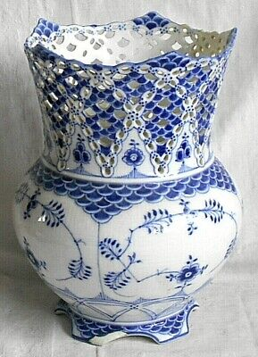 Royal Copenhagen Reticulated Blue And White Vase • 310£