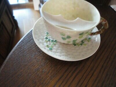 Rare Belleek Moustache Cup And Saucer In Shamrock  Pattern C1891 Mint • 195£