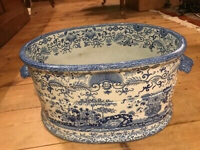 Antique LARGE  Blue & White FOOT BATH  • 175£