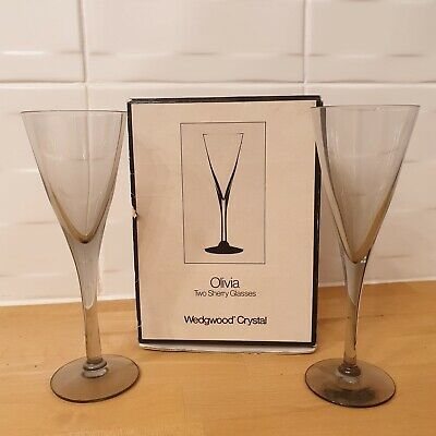 Wedgwood Crystal Olivia - 2x Sherry Glasses Made In England Design Frank Thrower • 14.99£