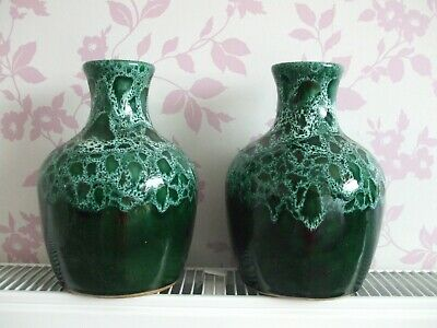 Matching Pair Green Mottled Pottery Vases. Fosters Cornwall ?? Unsure • 4£
