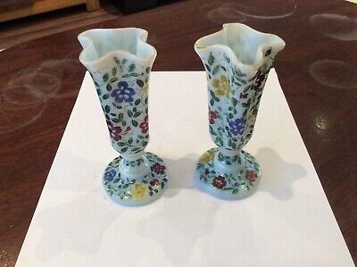 Beautiful Pair Of Antique Hand Decorated Opaline Glass Stem Vases • 16£