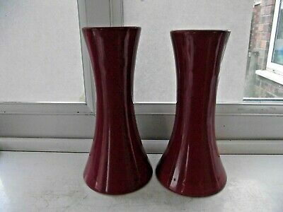 Antique Lovatt's Langley Ware Matching Pair Of Tall Burgundy Vases Excellent • 4.49£