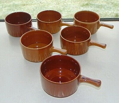 English Pottery 6 X Fixed Handle Soup Casserole Bowls Treacle Glaze • 10£