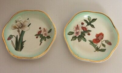 Pair Of Palissy Royal Worcester Trinket Dishes Floral Design Preowned (850D71) • 5£