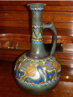Rare Large Vintage Gouda Pottery Ewer Decorated In The Crocus Pattern 15.5  High • 135£
