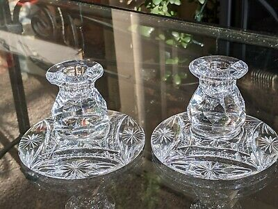 Pair Of Crystal Cut Glass Candle Holders • 8.50£