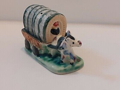 Vintage Salt And Pepper Pot In Shape Of Covered Wagon And Horse • 2£