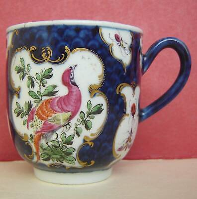 Worcester Porcelain Coffee Cup Exotic Birds 18thc • 35£