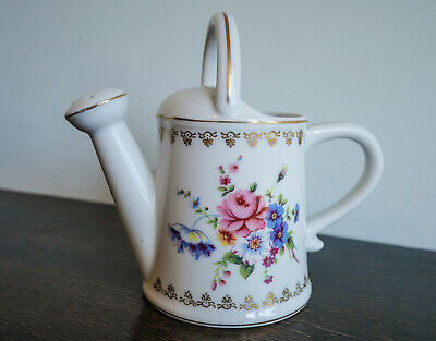 Pretty Vintage Style Decorative Ceramic Watering Can With Flowers+ Gold. Perfect • 12£
